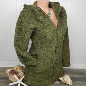 Athleta full zip hoodie jacket green nubby Sz M